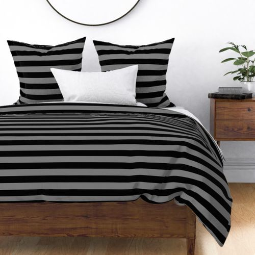 Tombstone Grey and Black Horizontal Witch Stripes Duvet Cover