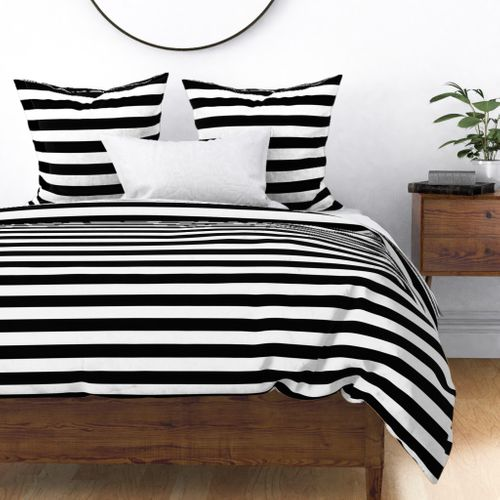 Small Cat Black and White Horizontal Witch Stripes Duvet Cover