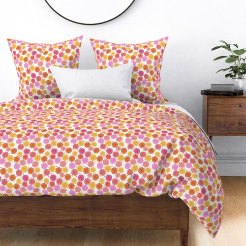 Hibiscus Hawaiian Flowers in Pinks and Corals on White Duvet Cover