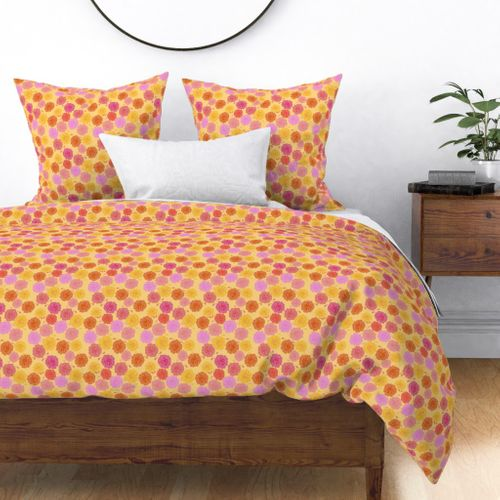 Hibiscus Hawaiian Flowers in Pinks and Corals on Yellow Duvet Cover