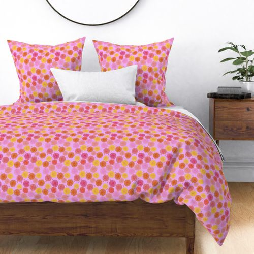 Hibiscus Hawaiian Flowers in Pinks and Corals on Lilac Duvet Cover
