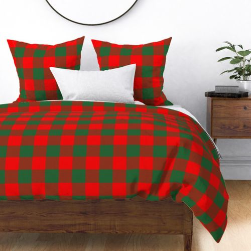 Jumbo Holly Red and Evergreen Green Christmas Country Cabin Buffalo Check Duvet Cover