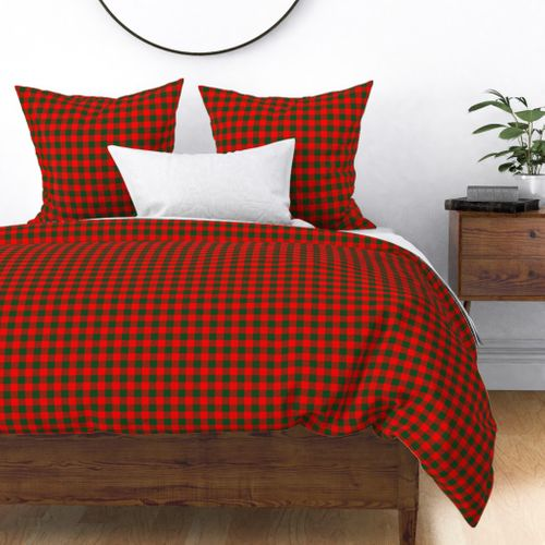 Tiny Holly Red and Balsam Green Christmas Country Cabin Buffalo Check Duvet Cover