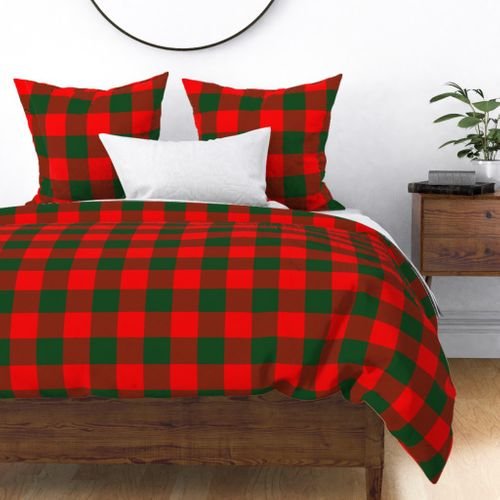 Jumbo Holly Red and Balsam Green Christmas Country Cabin Buffalo Check Duvet Cover