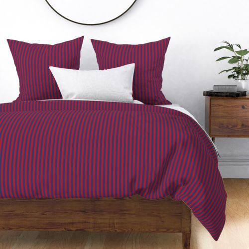 Small Red and Blue USA American Flag Vertical Stripes Duvet Cover