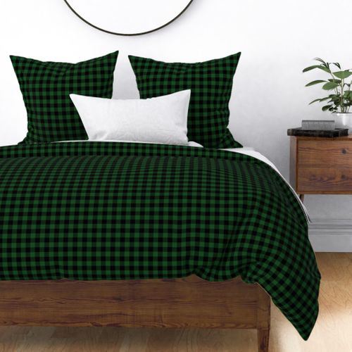 Mini Forest Green and Black Rustic Cowboy Cabin Buffalo Check Duvet Cover