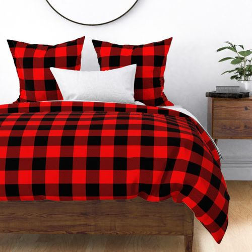 Jumbo Berry Red and Black Rustic Cowboy Cabin Buffalo Check Duvet Cover