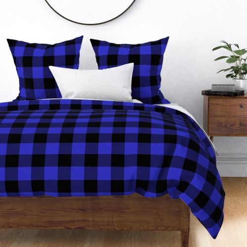 Jumbo Cornflower Blue and Black Rustic Cowboy Cabin Buffalo Check Duvet Cover
