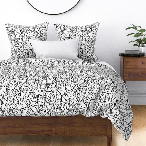 Elio Hearts in Black and White Duvet Cover