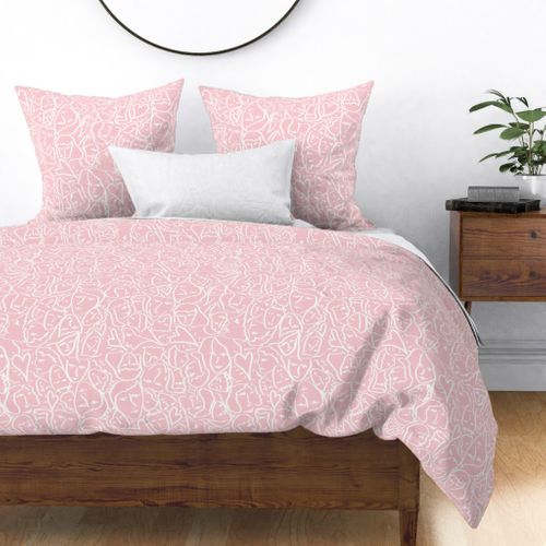 Elio Hearts White on Pink Duvet Cover