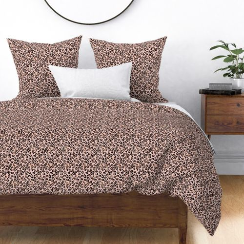 Small Leopard Rose Gold Spots on Pink Duvet Cover