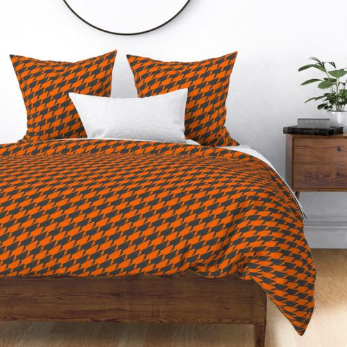 Sharkstooth Sharks Pattern Repeat in Grey and Neon Orange Duvet Cover