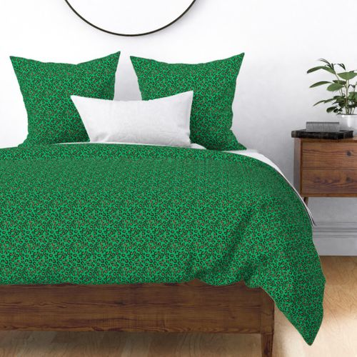 Greenery Green and Beige Leopard Spotted Animal Print Duvet Cover