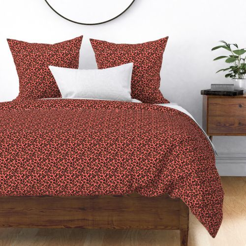 Living Color Color of the Year in Coral Beige and Black Leopard Spots Duvet Cover