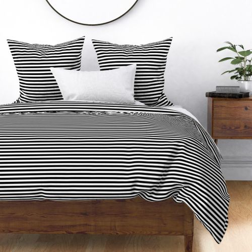 Black and White Thin Horizontal Half Inch Picnic Stripes Duvet Cover