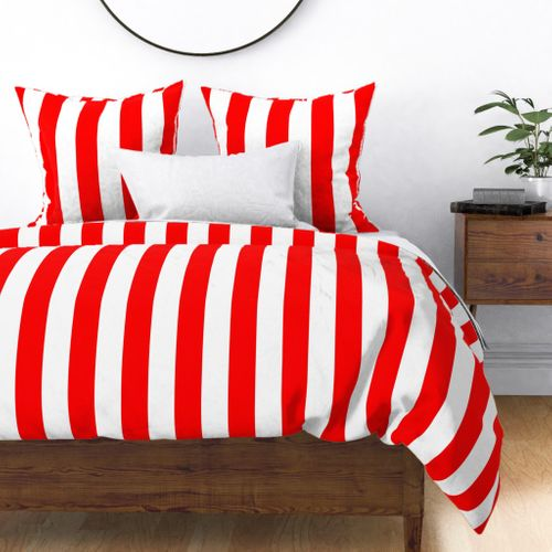 Red and White Jumbo 3-inch Circus Big Top Vertical Stripes Duvet Cover