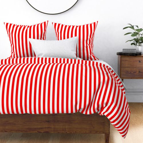 Red and White Big 1-inch Beach Hut Vertical Stripes Duvet Cover