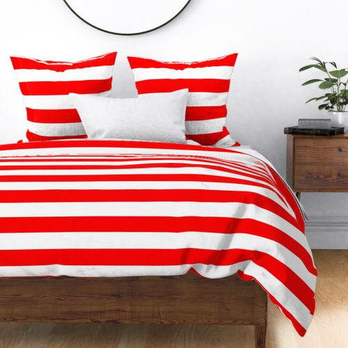 Red and White Jumbo 3-inch Circus Big Top Horizontal Stripes Duvet Cover