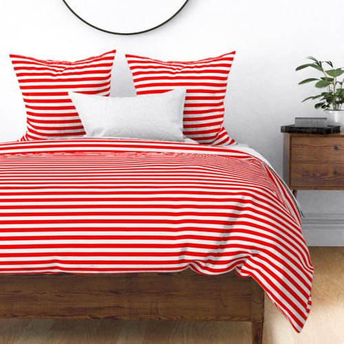 Red and White ¾ inch Deck Chair Horizontal Stripes Duvet Cover