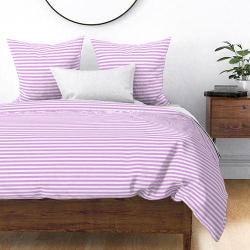 Blush Pink and White ½ inch Picnic Horizontal Stripes Duvet Cover