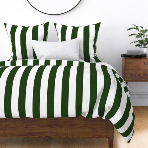 Forest Green and White Jumbo 3-inch Circus Big Top Vertical Stripes Duvet Cover