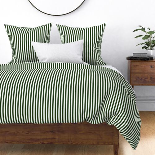 Forest Green and White ½ inch Picnic Vertical Stripes Duvet Cover