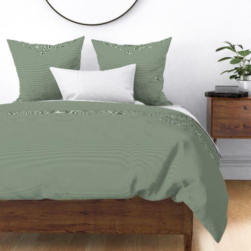 Forest Green and White 1/16-inch Micro Pinstripe Horizontal Stripes Duvet Cover