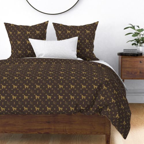 Louis Luxury Goldendoodle Dog Pattern on Brown Duvet Cover