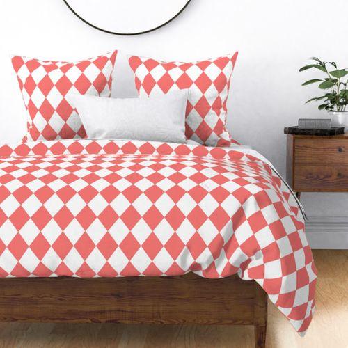 Coral Rose Modern Diamond Pattern on White Duvet Cover