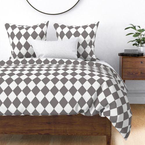 Dovecote Grey Modern Diamond Pattern on White Duvet Cover