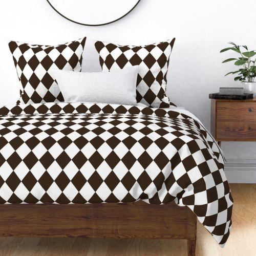 Coco Brown Modern Diamond Pattern Duvet Cover