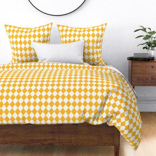 Butter Yellow Small Modern Diamond Pattern Duvet Cover