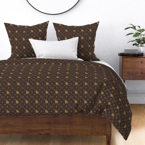 Louis Maltese Dog Brown and Beige Pattern with LM Initials and Bone Motifs Duvet Cover