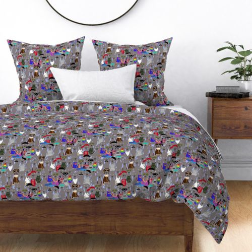 Small Print Dog Weim Nation Grey Ghost Weimaraner Hand-painted Pet Pattern on Blue Duvet Cover