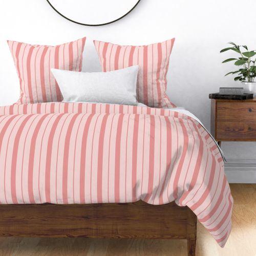 Pink and Rose Pink Café Stripe Vertical Pattern Duvet Cover