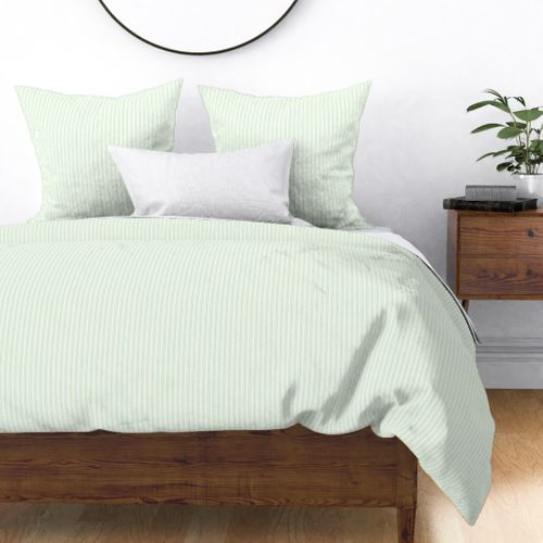 Classic Small Spearmint Mint Pastel Green French Mattress Ticking Double Stripes Duvet Cover