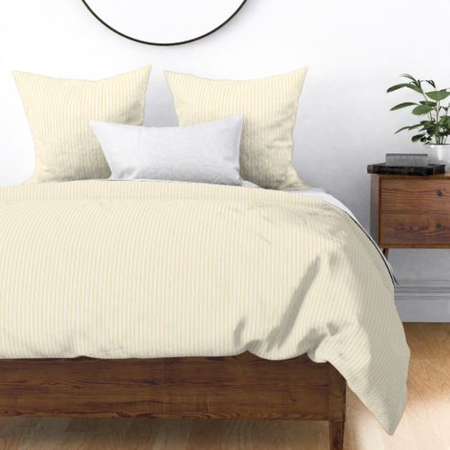 Classic Small Buttercup Yellow Pastel Butter French Mattress Ticking Double Stripes Duvet Cover