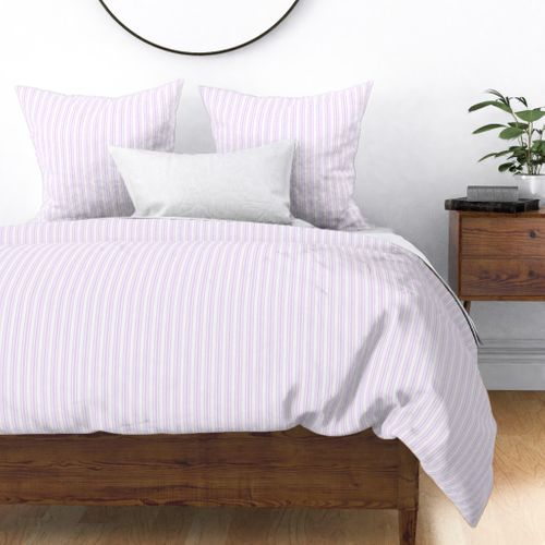Trendy Large Orchid Lilac  Pastel Purple French Mattress Ticking Double Stripes Duvet Cover