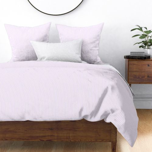 Classic Small Orchid Lilac Pastel Pale Purple French Mattress Ticking Double Stripes Duvet Cover