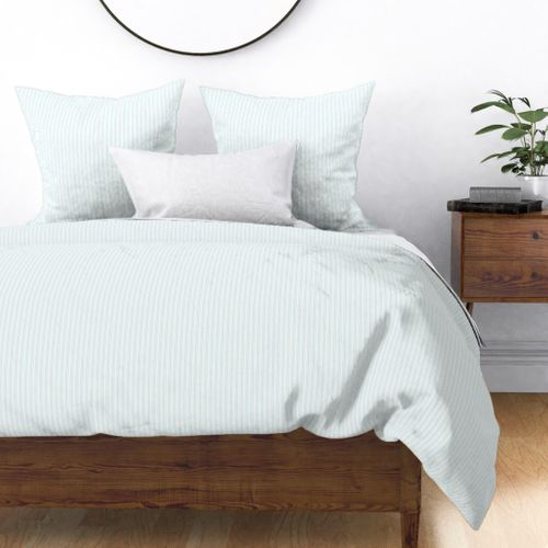 Classic Small Blue Lily Pastel Blue French Mattress Ticking Double Stripes Duvet Cover