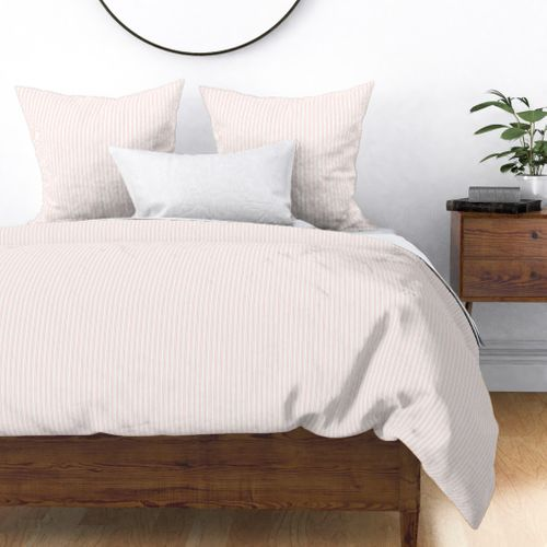 Classic Small Pink Rosebud Pastel Pink French Mattress Ticking Double Stripes Duvet Cover
