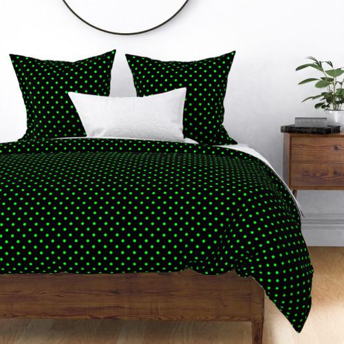 Black Licorice and Lime Green Polka Dots Duvet Cover