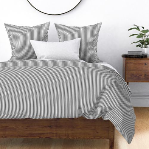 Classic Small Black Tarp Pastel Black French Mattress Ticking Double Stripes Duvet Cover