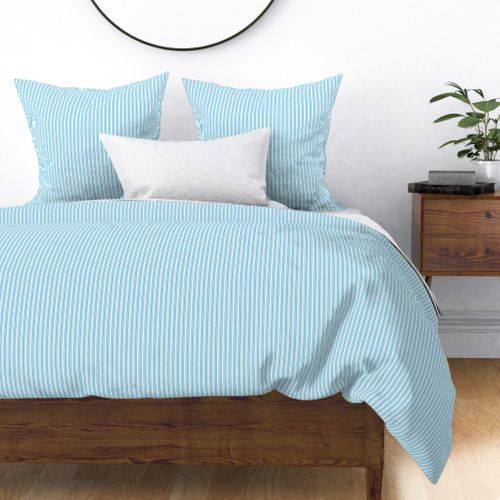 Classic Small Blue Sky Pastel Blue French Mattress Ticking Double Stripes Duvet Cover