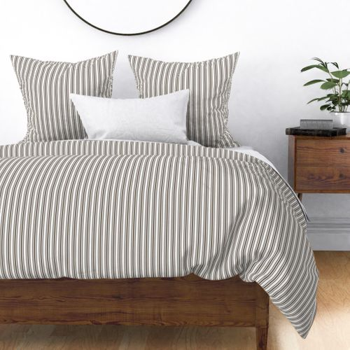 Trendy Large Brown Coco Pastel Brown French Mattress Ticking Double Stripes Duvet Cover