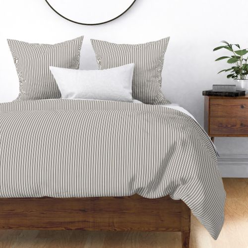 Classic Small Brown Coco Pastel Brown French Mattress Ticking Double Stripes Duvet Cover