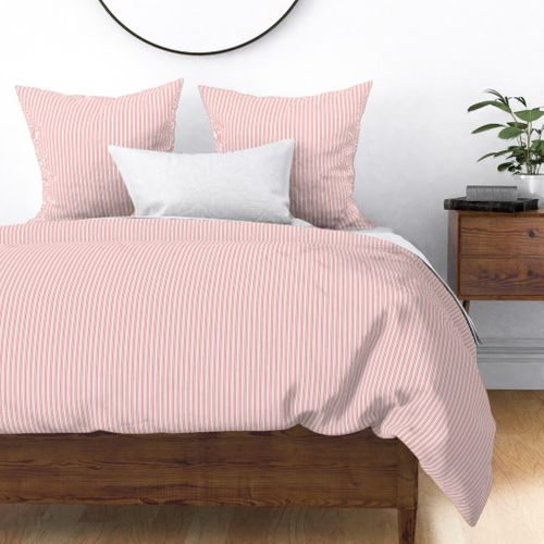 Classic Small Coral Rose Pastel Coral French Mattress Ticking Double Stripes Duvet Cover