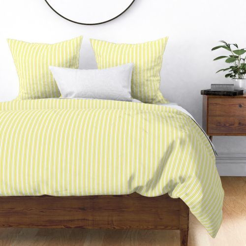 Trendy Large Highlighter Yellow Pastel Highlighter French Mattress Ticking Double Stripes Duvet Cover