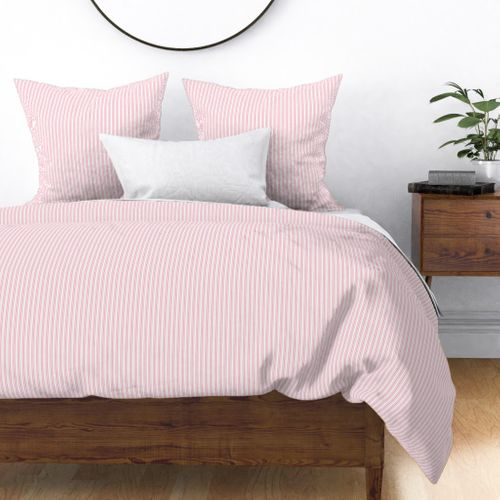 Classic Small Pink Petal French Mattress Ticking Double Stripes Duvet Cover