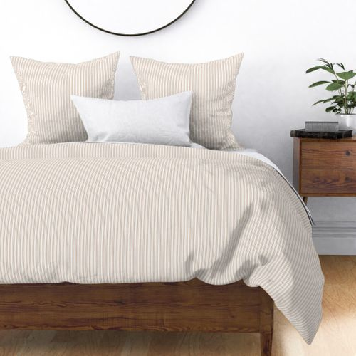 Classic Small Beige Burlap French Mattress Ticking Double Stripes Duvet Cover